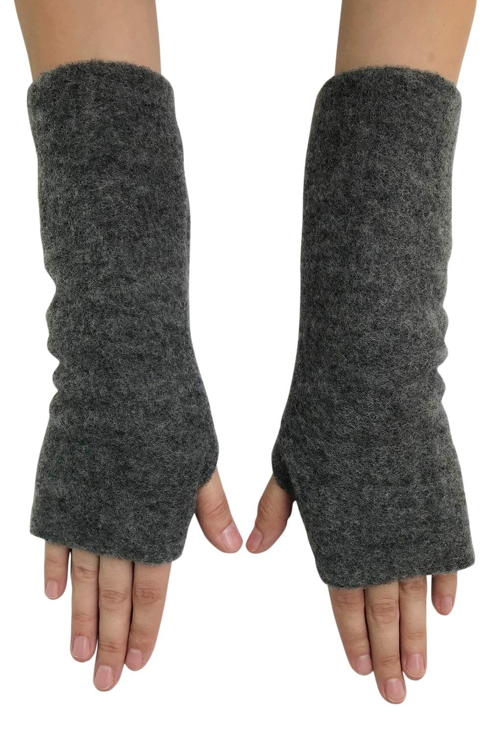 Women's Arm Warmer Sleeves - Fingerless Gloves with Thumb Holes, Pure Merino Wool Fleece (Grey Melange)