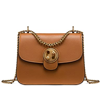 a551cf7801a3 LA FESTIN Ladies Retro Leather Shoulder Chain Purse Saddle Bag - with  Outside Pocket
