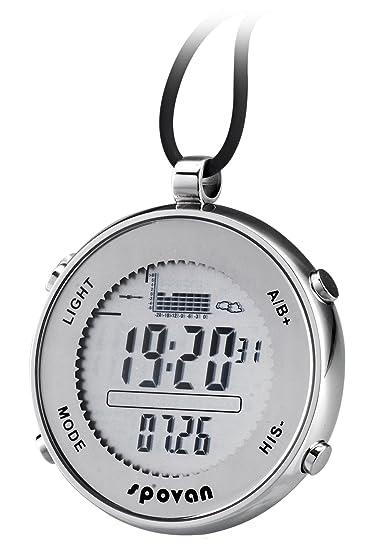 Spovan altímetro barómetro termómetro pesca deporte digital reloj de bolsillo: Amazon.es: Relojes