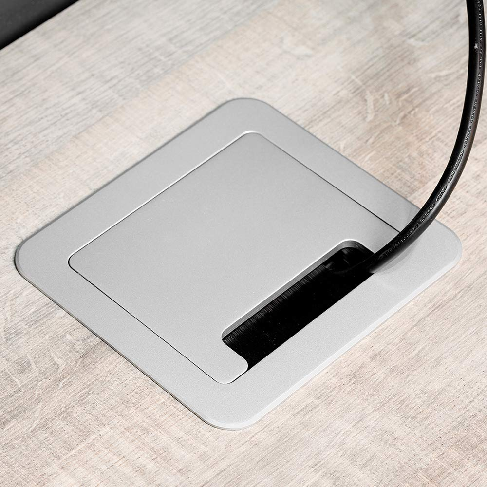 265/x 120/mm /ciabatta Multipresa retrattile per ad incasso Nella tavolo Base di prese di ripartizione spina EU Tipo F, USB, RJ45/E HDMI emuca/ Grigio METALLIZZATO