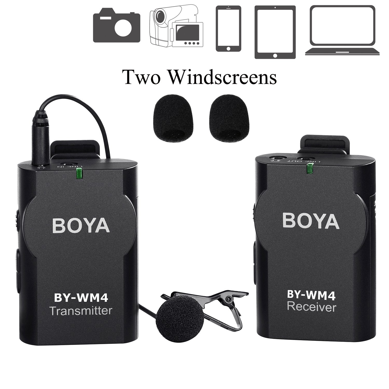 BOYA BY-WM4 Universal Lavalier Wireless Microphone Mic with Real-time Monitor for IOS iPhone 8 8 plus 7 7 plus 6 6s Smartphone iPad Tablet DSLR Amalen.inc