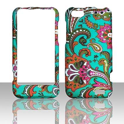 new product c9a3b b3216 Amazon.com: 2D Blue paisley HTC One V Virgin Mobile, U. S. Cellular ...