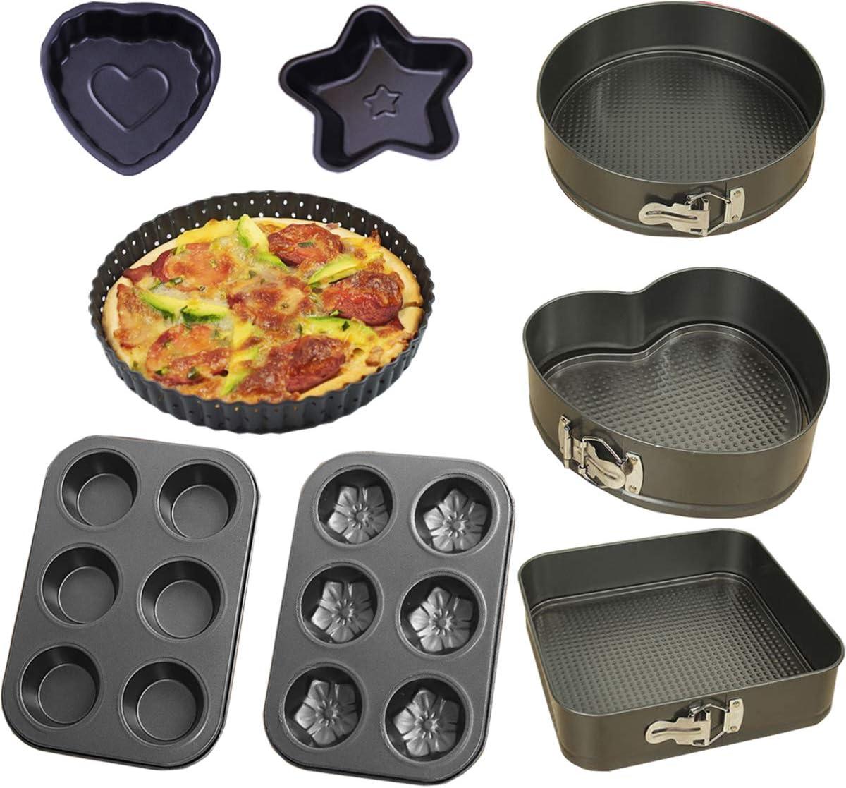 8 Pcs Baking Trays Set Oven Baking Set Cake Tins for Baking Set with Muffin Tray Non-Stick Kitchen Trays Set with Round /& Square Cake Tin Cake Pizza Pans Set-A