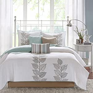 Madison Park Caelie King Size Quilt Bedding Set - Aqua, White, Leaf Embroidery – 6 Piece Bedding Quilt Coverlets – Ultra Soft Microfiber Bed Quilts Quilted Coverlet