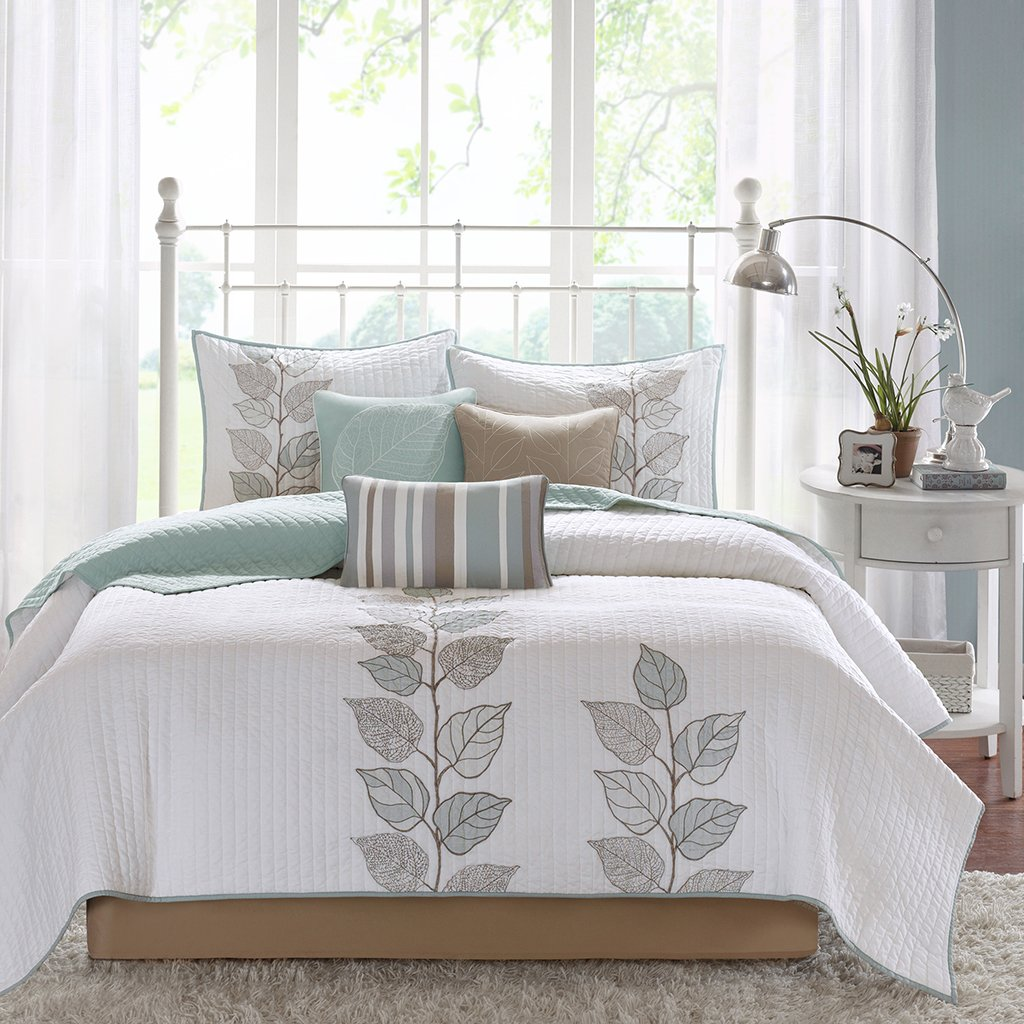 Madison Park Caelie King Size Quilt Bedding Set - Aqua, White, Leaf Embroidery - 6 Piece Bedding Quilt Coverlets - Ultra Soft Microfiber Bed Quilts Quilted Coverlet by Madison Park