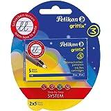 Pelikan Griffix Pack de 2 Etuis de 5 Cartouches d'encre Bleu pour Roller/KM5