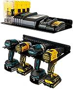StoreYourBoard Electric Drill Storage Rack with Storage Shelf, Holds 4 Drills