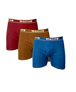 Macho Men's Long Fine Cotton Trunk (Multicolured, 85 cms) - Pack of 3