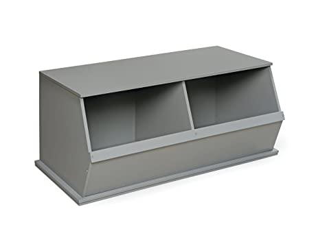 Badger Basket Two Bin Stackable Storage Cubby, Gray