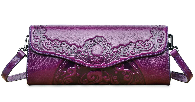 PIFUREN Womens Luxury Evening Wedding Party Purse Clutch Floral Handbag Y76937(One Size, Violet)