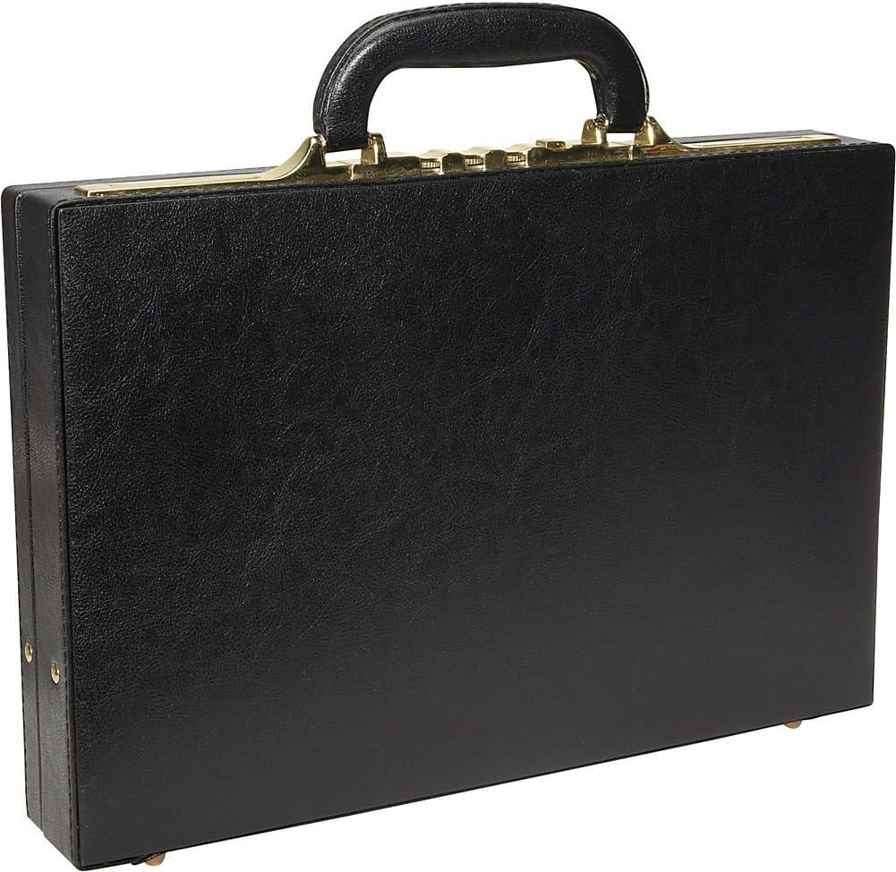 AmeriLeather Slim Executive Faux Leather Attache Case Black Floral