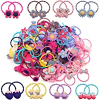 120Piece/60 Pairs Baby Girls Hair Ties Cute Baby Bows Ties Elastic Hair Bands Ponytail Holder for Infants Toddlers Kids
