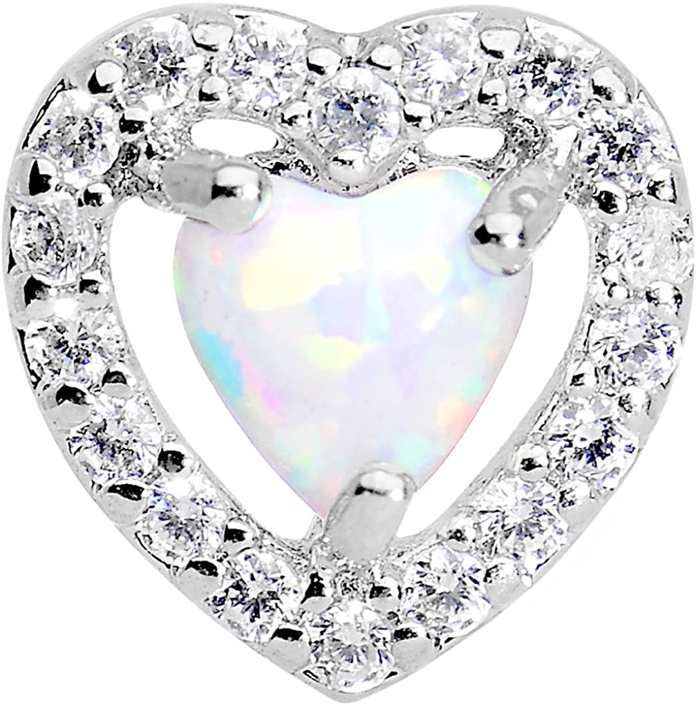 Body Candy Stainless Steel Iridescent White Heart Tragus Cartilage Earring 16 Gauge
