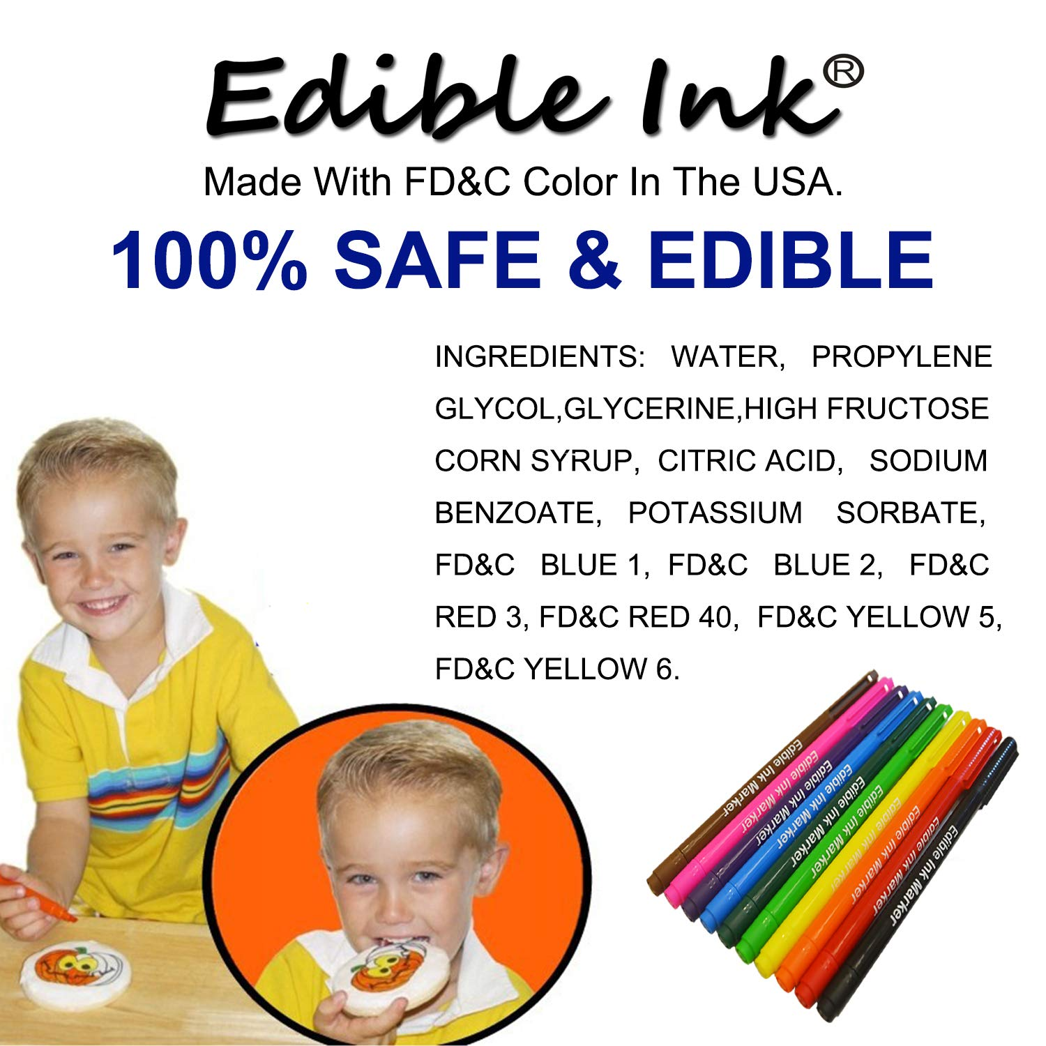 Food coloring Pens, 11Pcs Double Sided Food Grade and Edible Marker,Gourmet Writers for Decorating Fondant,Cakes, Cookies, Frosting, Easter Eggs, Thick Tip and Fine Tip, 10 Colors, by Edibleink by EdibleInk (Image #4)