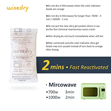 0939d1d02 50 Gram [4PACKS] Silica Gel Packets Desiccant Reusable with Microwave Fast  Reactivated in 2mins & Orange to Green indicating Moisture  Absorbing-Rechargeable ...
