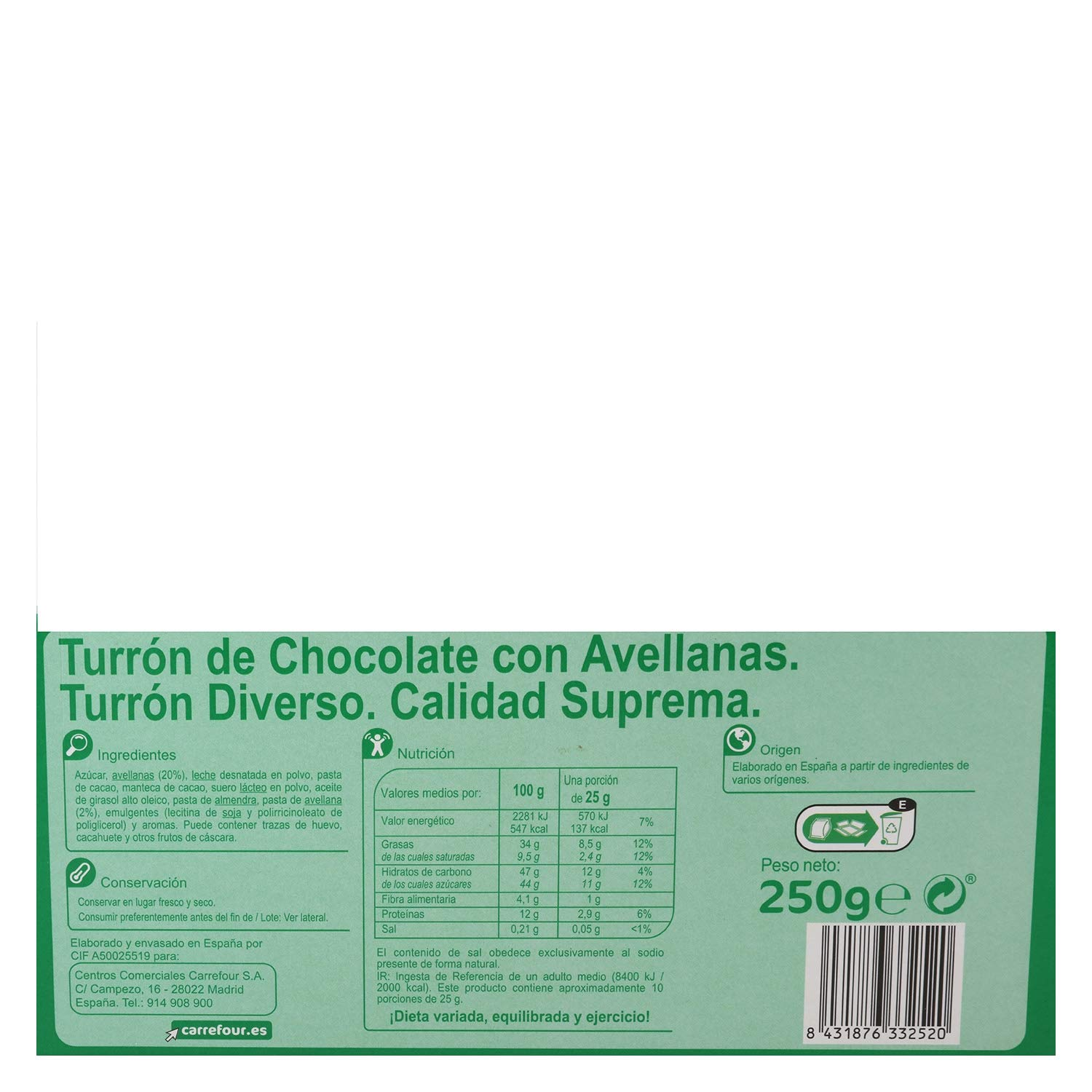 Carrefour Chocolate with Hazelnuts Spanish Nougat - 3 Pack - Made in Spain - Candy & Chocolate - Traditional & International Sweet - Gluten-Free - Turron: ...
