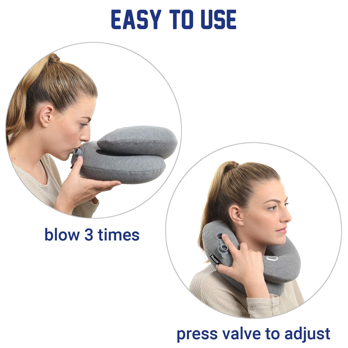 BCOZZY Extra Large Inflatable Travel Pillow Patented Neck  Chin Support for Comfortable Sleep on