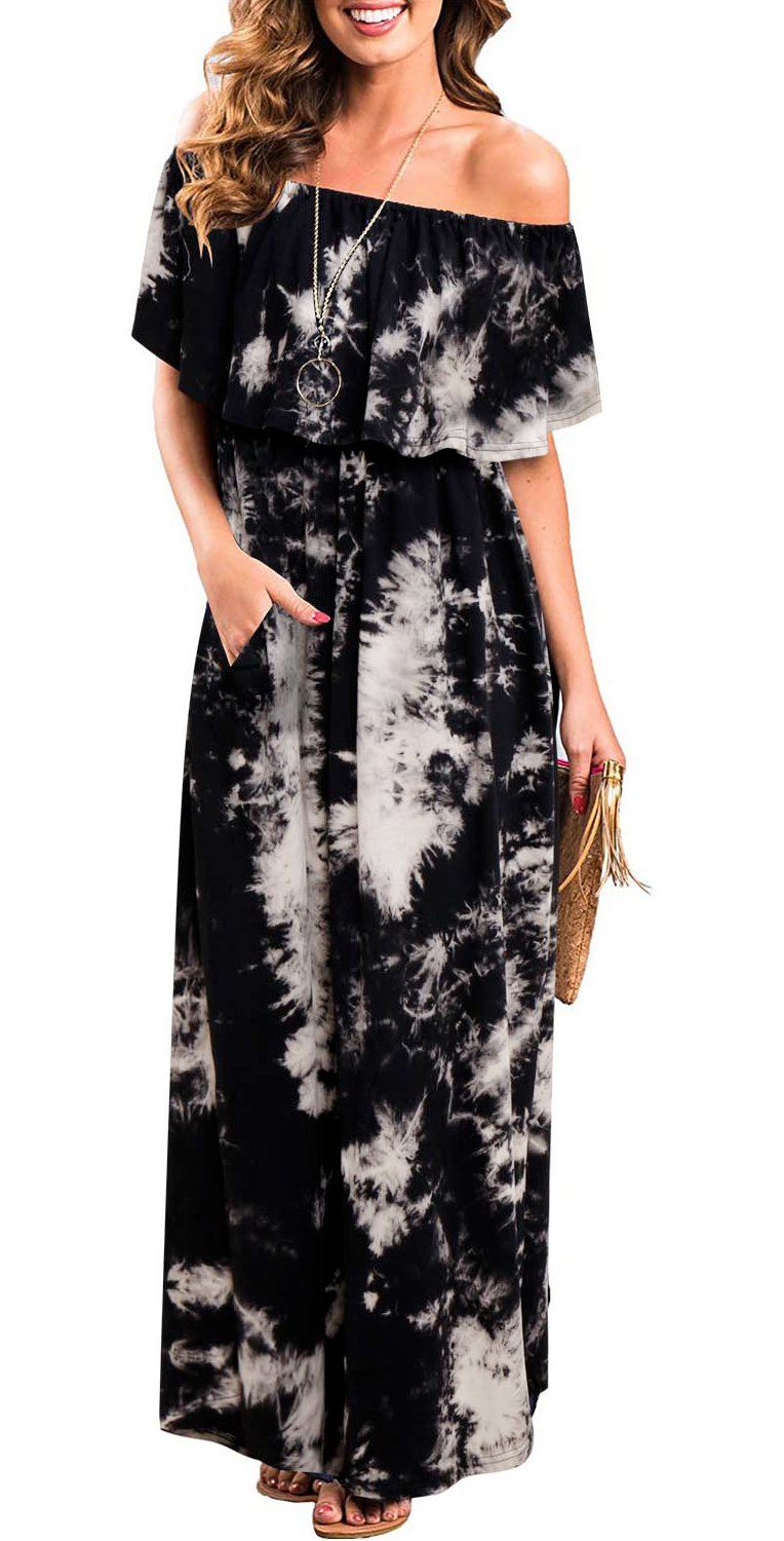 Casual Dresses for Women with Pockets, Womens Sexy Off The Shoulder Tunic Waist Swing Maxi Dresses Fashion Tie Dye Party Long Dress Black XL