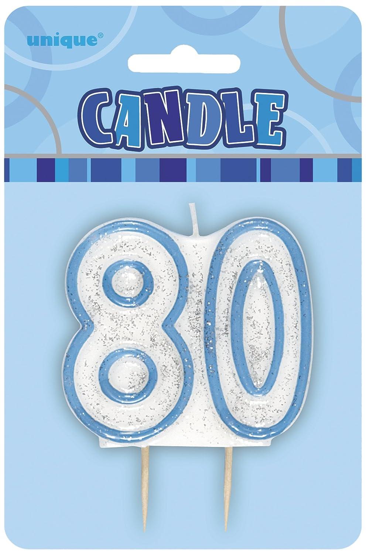 Unique Party Vela de 80 cumpleaños, Color Azul Brillante ...