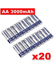 3000mAh BTY AA Rechargeable Battery Recharge Batteries NI-MH 1.2V 4/8/12/16/20pcs (20pcs)