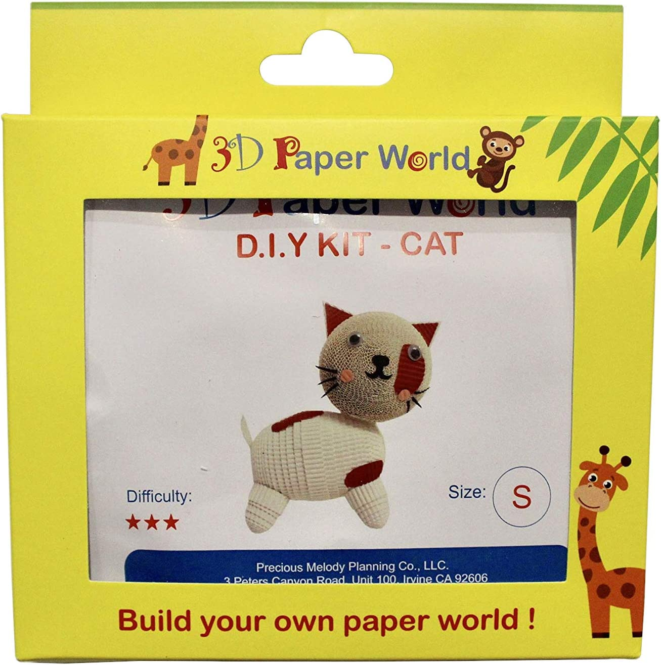 Handmade Toys for Kids and Adults Alike Spotted, Small Great Decorations for Home or a Party. Cat Paper Craft DIY Kit : 3D Paper World Quilling