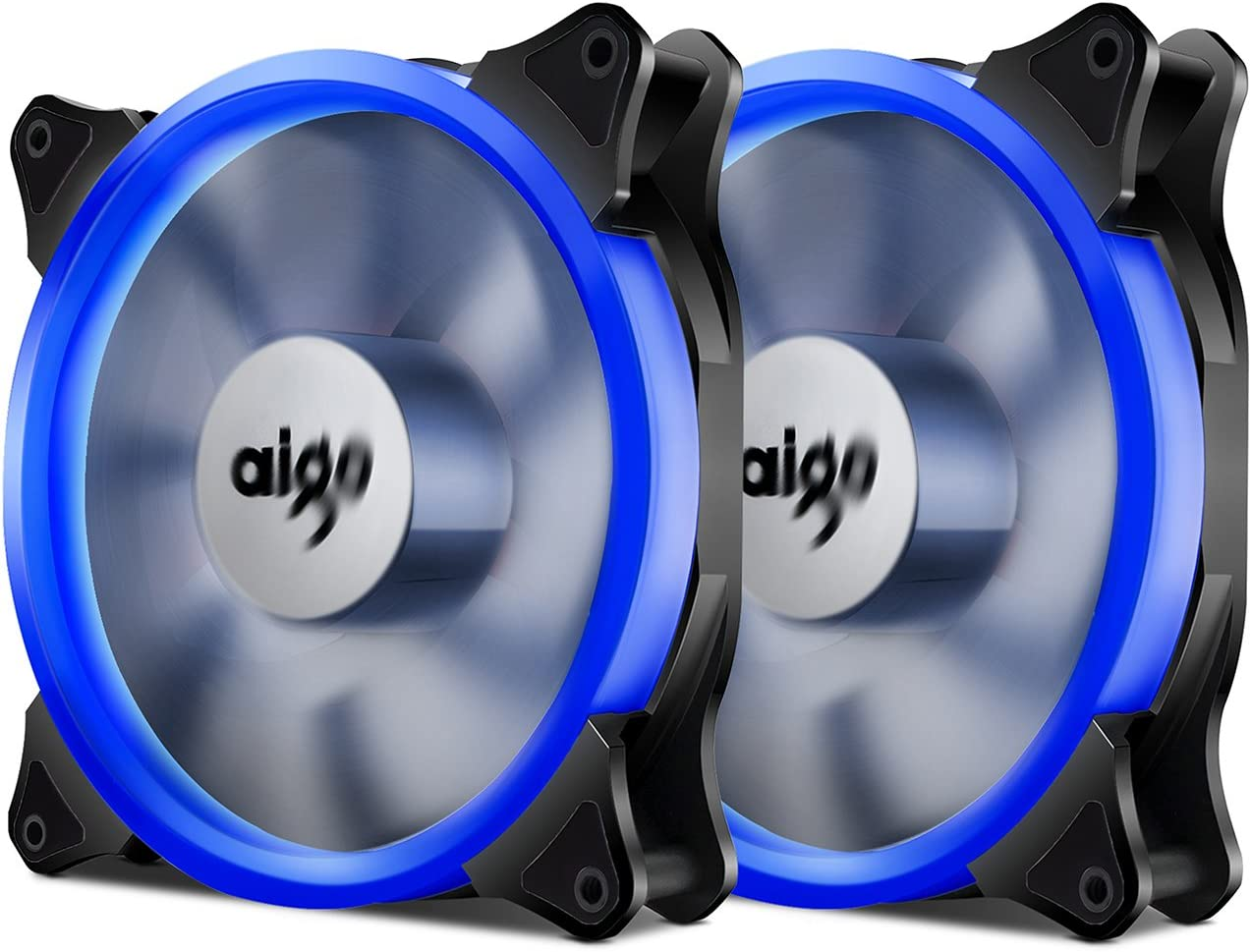 Aigo Halo Ring Fan LED 140mm PC CPU Computer Case Cooling Neon Quite Clear Fan Mod 4 Pin/3 Pin (140mm, 2 Pack Blue)