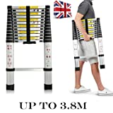 Multi-Purpose 3.8m 12.5 Feet Aluminium Portable Telescopic Ladder DIY Extendable Ladder 13 Step