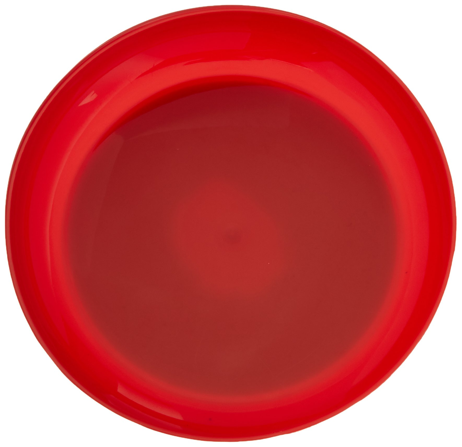 Sammons Preston Red Round Scoop Dish, Unbreakable 8'' Scooper Bowl for Elderly, Disabled, & Handicapped, Plate with Non Skid Rubber Padded Bottom for Independent Eating, Self-Feeding Aid