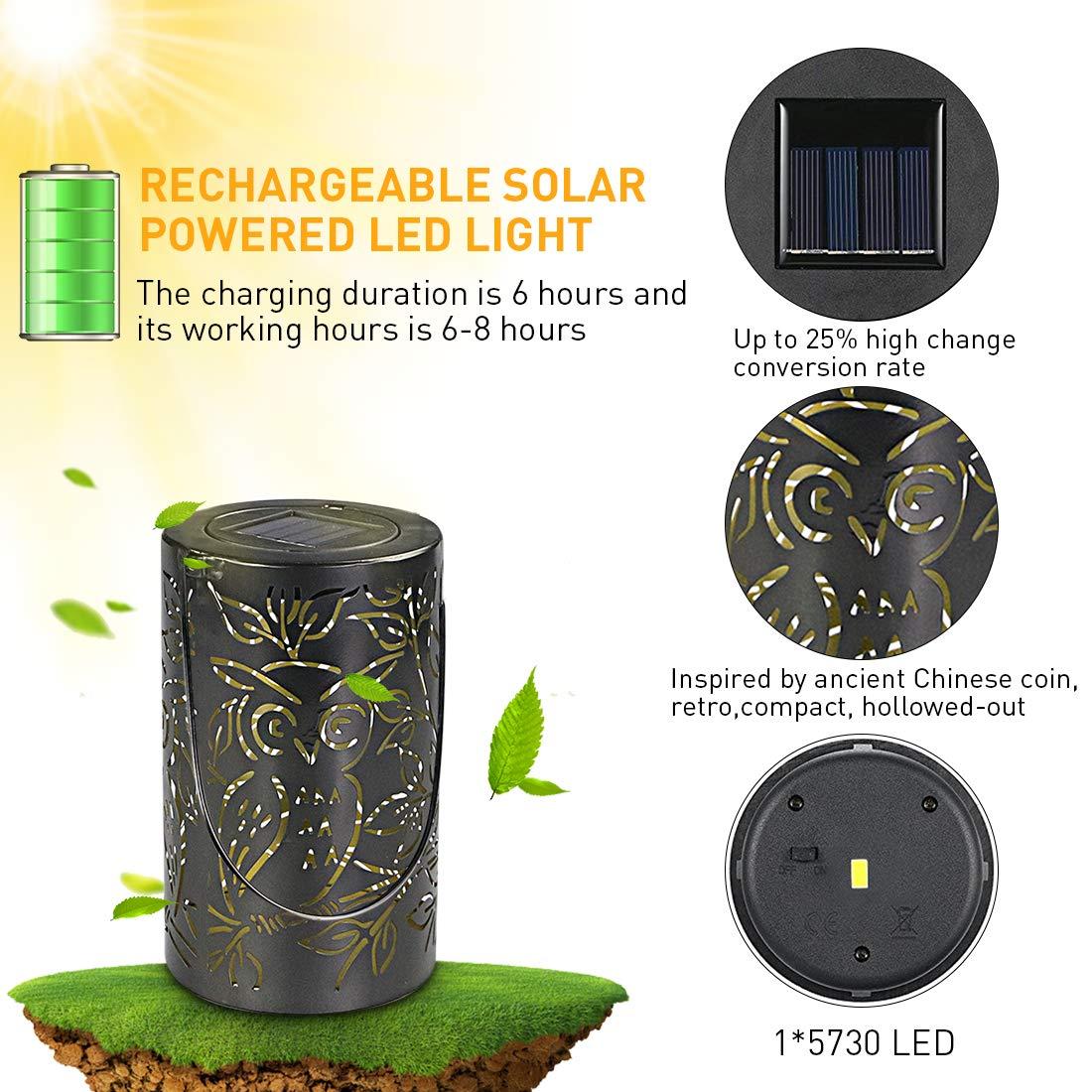 LED Solar Laterne Solarlaterne für außen,Retro Pendelleuchte mit Wiederaufladbaren IP44 Wasserdicht Eule Form für Garten Hof Terrasse Rasen Party Decor