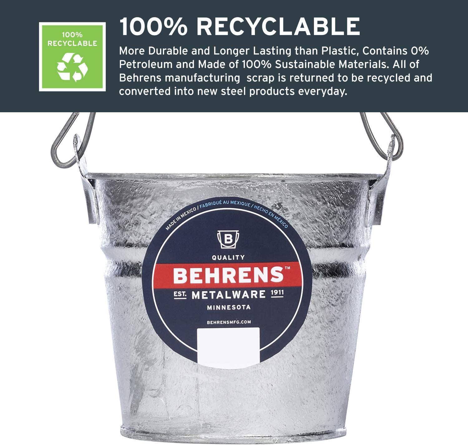tin home decor.htm amazon com behrens 1202 hot dipped galvanized steel utility pail  hot dipped galvanized steel utility
