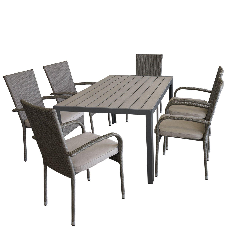 Gartengarnitur Gartentisch, Aluminiumrahmen, 150x90cm, Polywood Tischplatte Grau + 6x Rattanstuhl, Polyrattanbespannung Grau, stapelbar + 6x Sitzkissen, Beige strukturiert