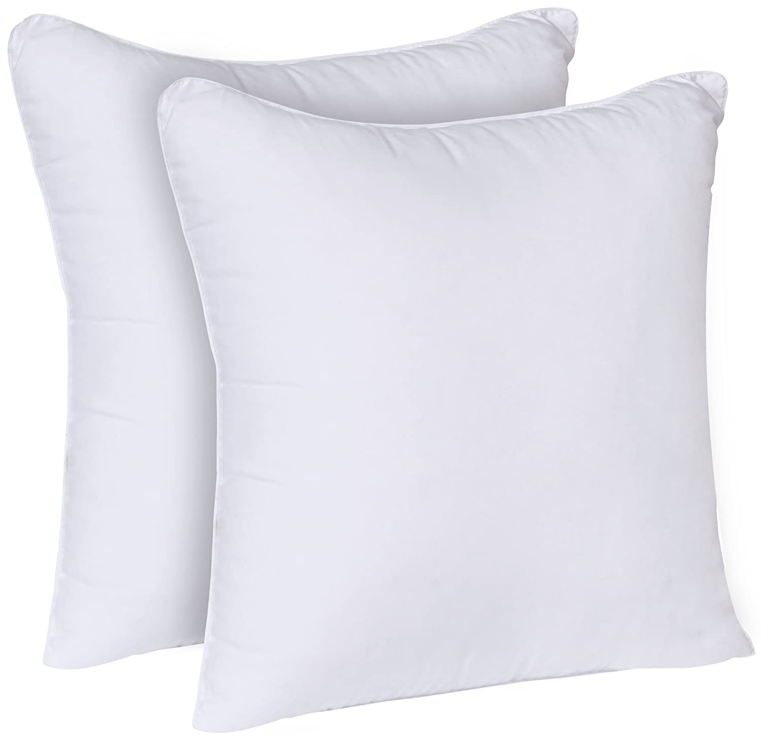 Utopia Bedding Decorative Pillow Insert (2 Pack, White) - Square 18x18 Sofa and Bed Pillow - Poly Cotton Cover - Indoor White Pillows FBA_COMIN18JU076864