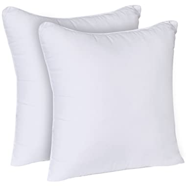 Utopia Bedding Decorative Pillow Insert (2 Pack, White) - Square 18x18 Sofa and Bed Pillow - Poly Cotton Cover - Indoor White Pillows