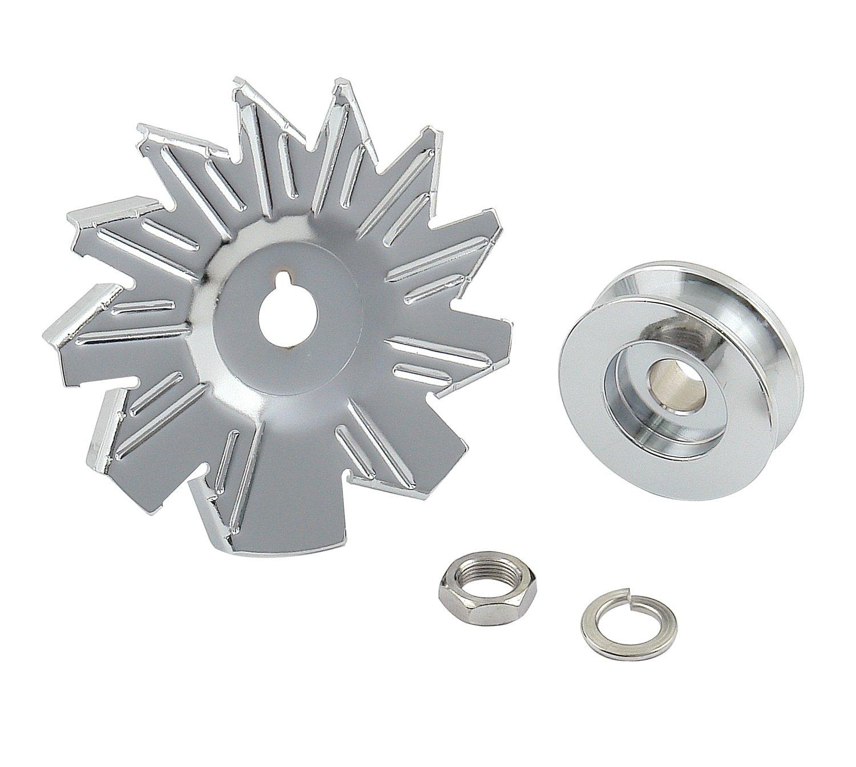 Mr. Gasket 6808 Chrome Plated Alternator Pulley Kit by Mr. Gasket
