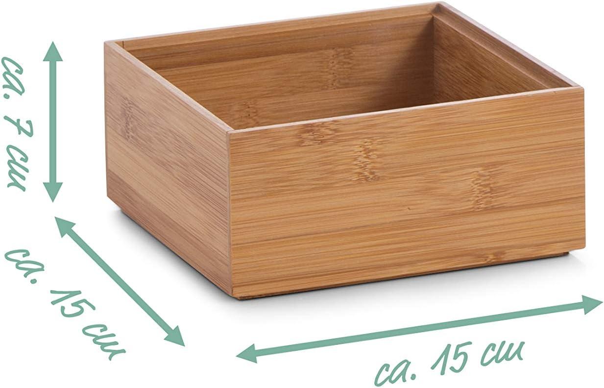 Zeller 13330 Caja para Poner Orden, Madera, Marrón, 15x15x6.5 cm ...