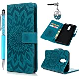 Funda Huawei Mate 10 Lite, Funda Libro de Cuero Impresión de Girasol, Flip Cover Funda Suave para Huawei Mate 10 Lite, Wallet Case con Soporte Plegable, Ranuras para Tarjetas y Billetes - Azul