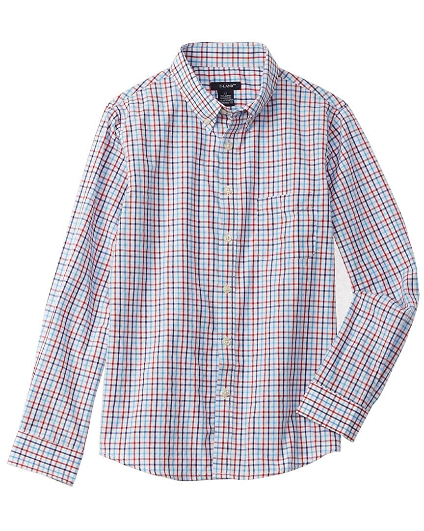 12 Red E Land Boys Kids Plaid Woven Shirt