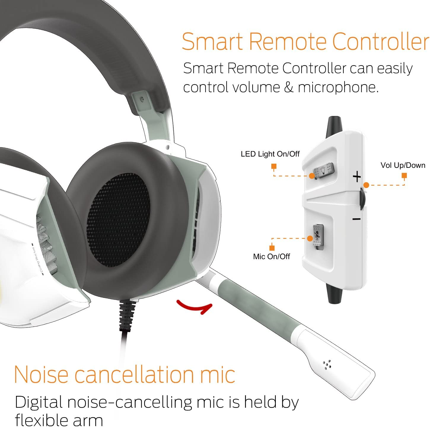 GAMDIAS Gaming Headset with USB//3.5mm Jack HEBE E1 In-line Remote and RGB Lighting 40mm Drivers