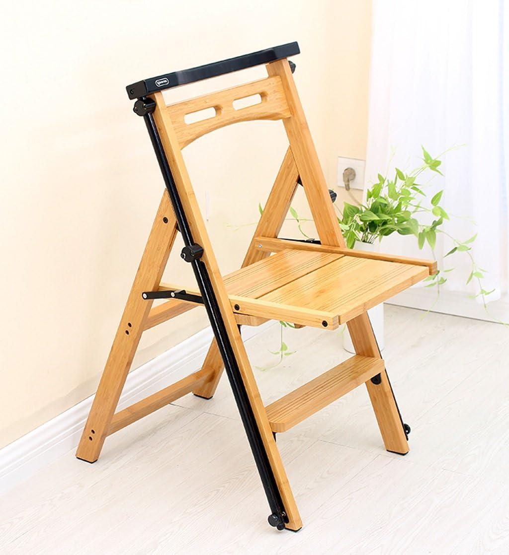 ZENGAI Escalera Madera Sillas Asientos Escalera Móvil Telescópica Taburete Alto De Doble Uso Estante Respaldo Bambú Biblioteca#: Amazon.es: Hogar