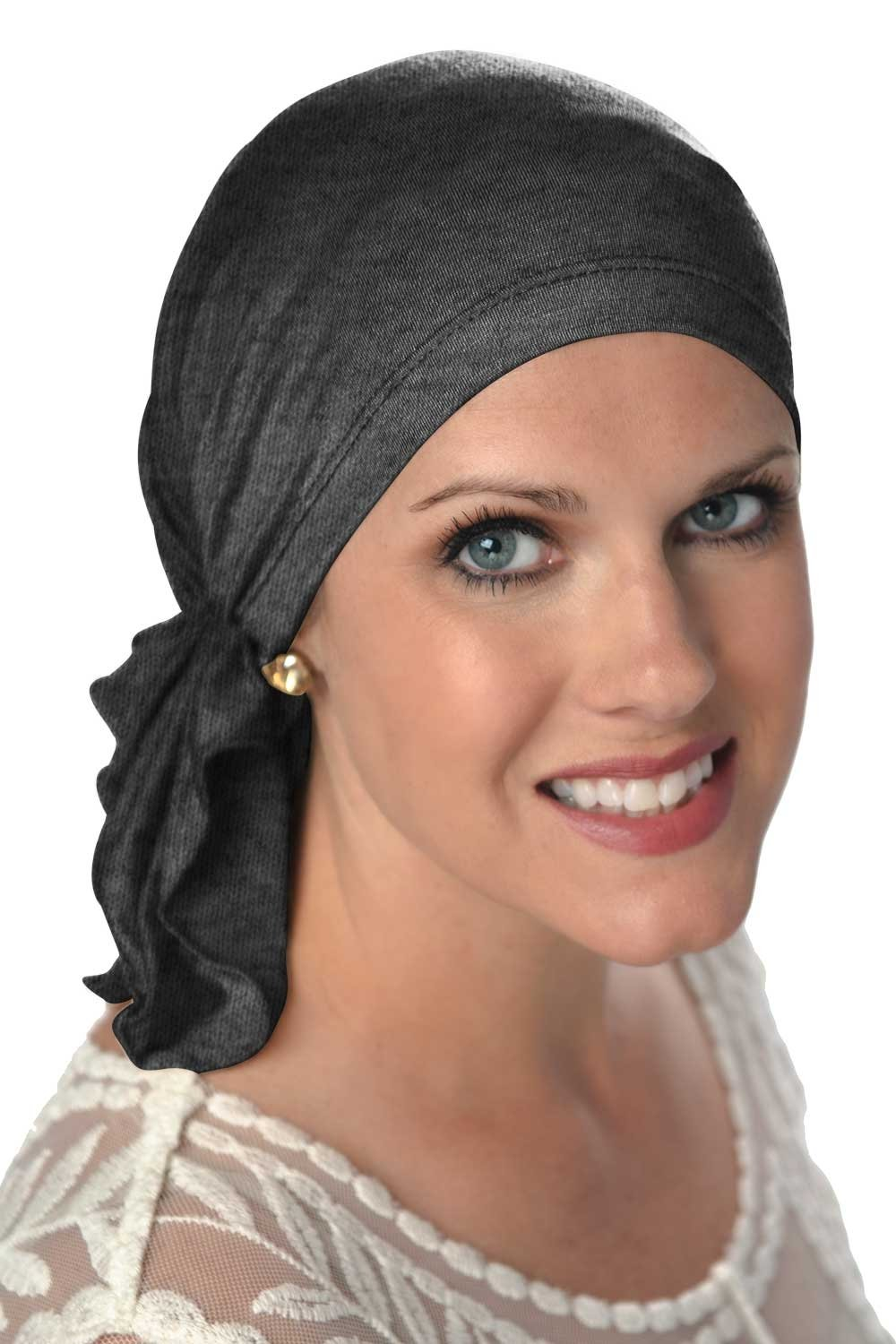 Slip-On™ Scarf- Caps for Women with Chemo Cancer Hair Loss Charcoal Headcovers Unlimited SV-70062A-CHR