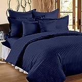 Bedding Club 300 TC 100% Cotton Sateen Double King Size Bedsheet with 2 Pillow Covers Plain Premium Platinum Superior Elegant Solid Stripes Blue