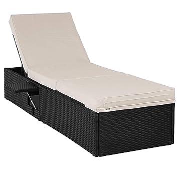 Deuba Chaise Longue 1 Personne Canapé Lit Réglable Polyrotin 195x60cm    Jardin   Intérieur Extérieur