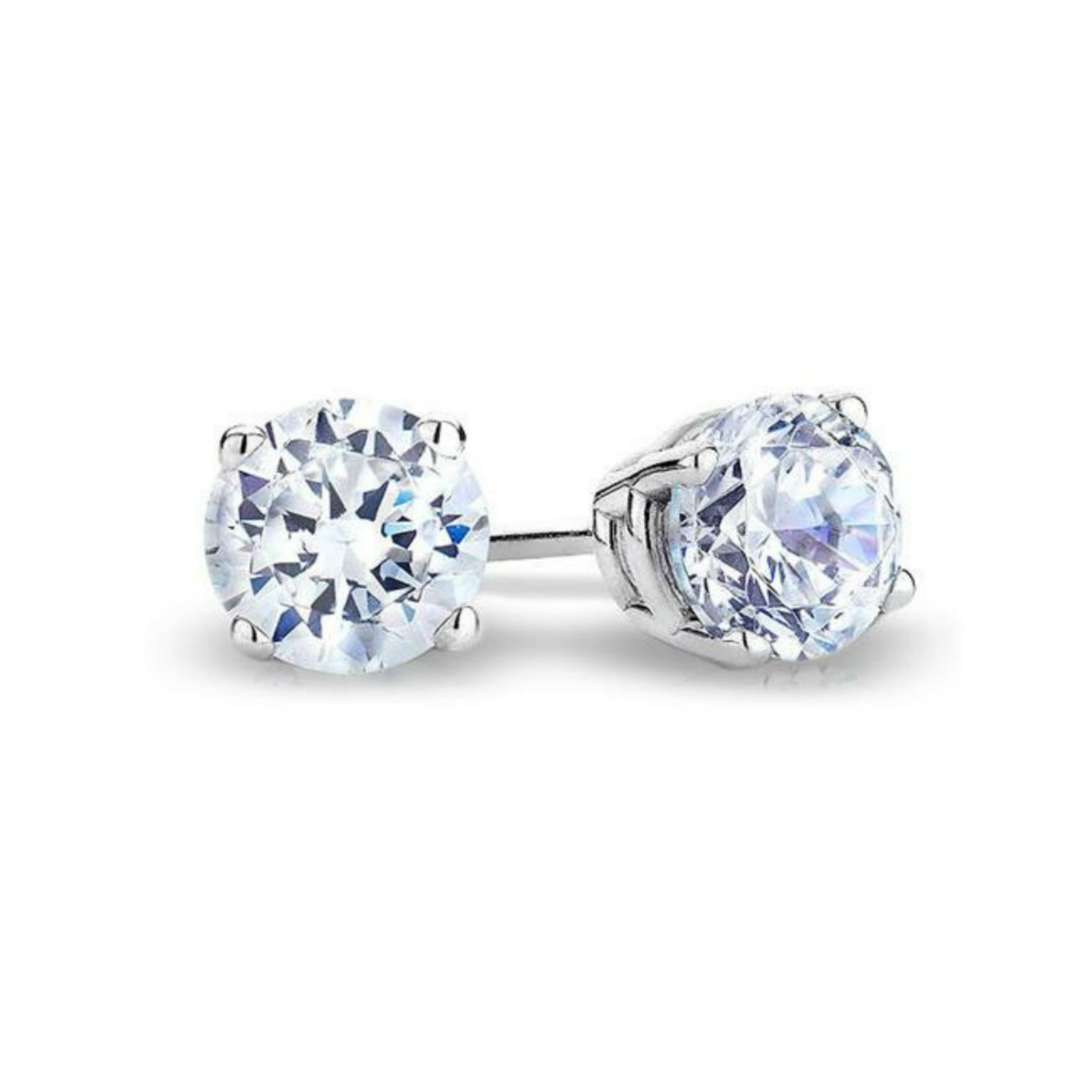 IGI Certified Solitaire Real 14k White Gold Round Diamond Stud Earrings (Color- KL, Clarity I3) (Promo) (Diamond Weight 0.60 Ct) by finediamondjewelry
