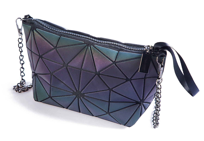Luminous Handbag Lattice Design Geometric Bag Unique Purses Soft PU Leather Wristlet Clutch Crossbody Bag with Chain Strap Cell Phone Purse