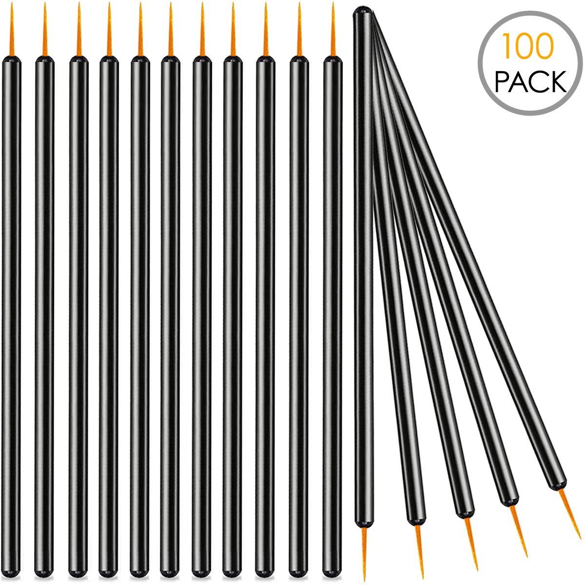 KINGMAS 100 Pack Disposable Eyeliner Brushes Applicator Makeup Eye Liner Wands