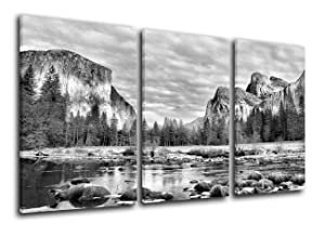 TUMOVO Native American Decor Yosemite Park Pictures for Living Room Valley View Painting on Canvas 3 Piece Wall Art Modern Landscape Artwork Home Decor Framed Gallery Wrapped Ready to Hang(28''x42'')