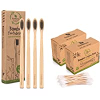 FutureUses® - 400 Bamboo Cotton Buds + 4 Bamboo Toothbrushes - Bamboo Swabs - Toothbrush - Biodegradable Handle and Packaging - Zero Waste