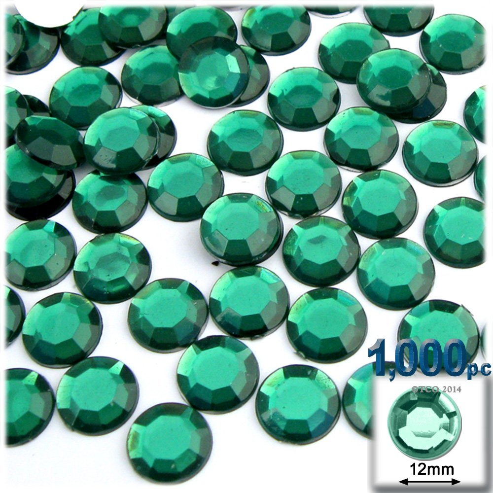 The Crafts Outlet 1000-Piece Flatback Round Rhinestones, 12mm, Emerald Green by The Crafts Outlet