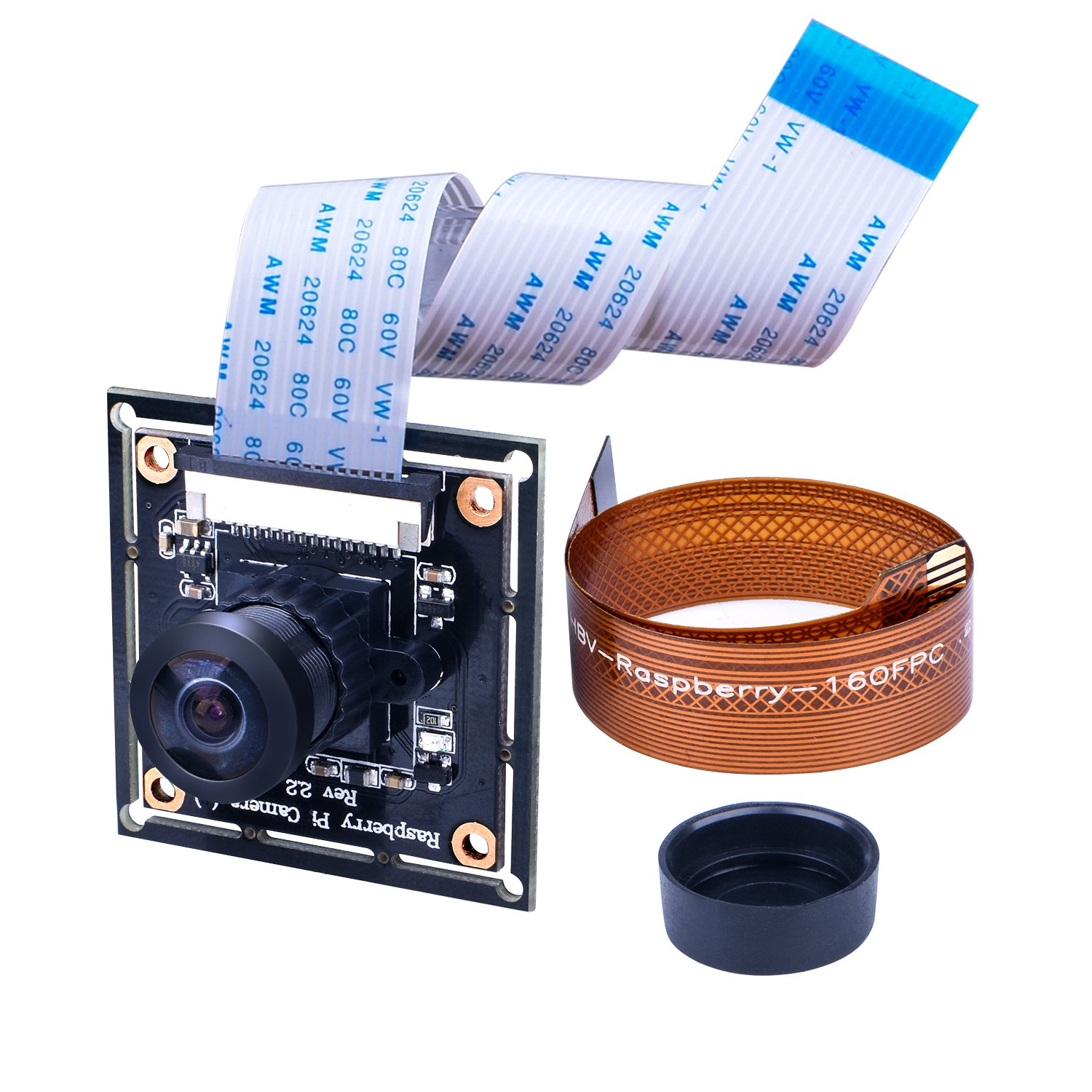 For Raspberry PI Wide Angle 160° Fisheye Lens HD Camera Module, Longruner 5MP RPI Camera Adjustable-Focus Module Drone Webcam with 16 Pin FPC Cable For PI 3 B Model & 2 B B+ and RPi Zero Ribbon Cable 15cm for Zero Zero W