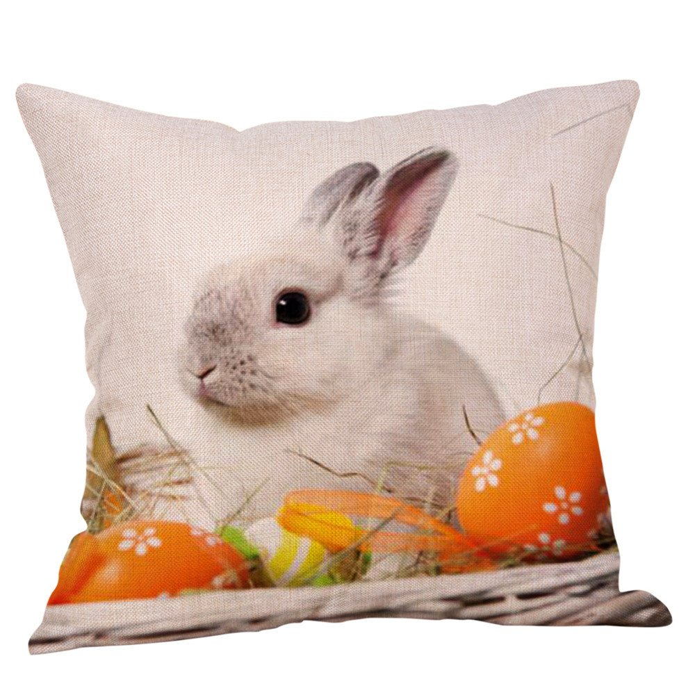 18x18 inches Happy Easter Cute Animal Bunny Rabbit Chick Colored Egg Flower Blessing Gift Cotton Linen Decorative Throw Pillow Cover Cushion Case Decoration (E)